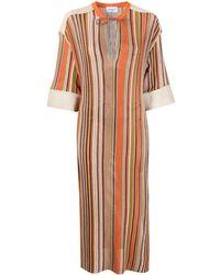 Ferragamo Robe en maille fine à rayures - Multicolore