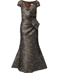 Jovani Metallic-jacquard Wrap Gown - Brown