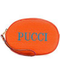 Emilio Pucci Trousse de toilette à logo brodé - Orange