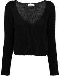 BROGNANO Ribbed-knit Cropped Jumper - Black