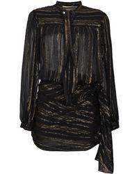 Saint Laurent - Платье-мини С Запахом С Металлическими Нитями И Бантом - Lyst
