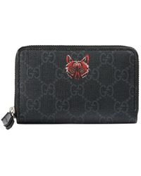 64484d4caa Gucci Canvas Wolf Print Gg Supreme Wallet for Men - Lyst