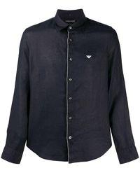 Emporio Armani Camisa de lino con manga larga - Azul
