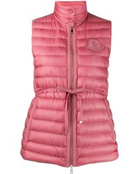 Moncler Drawstring-waist Quilted Down Gilet - Pink