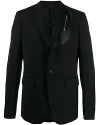 Les Hommes Zip Panel Blazer - Black