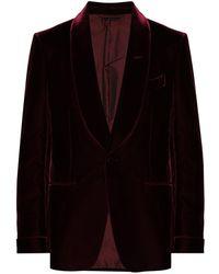 Tom Ford Бархатный Однобортный Пиджак - Красный