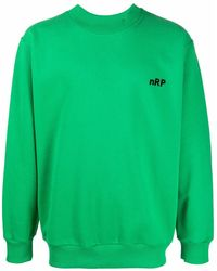 Styland Embroidered-logo Crew Neck Sweatshirt - Green
