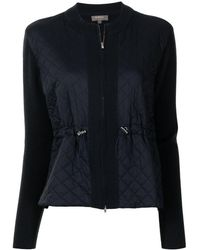 N.Peal Cashmere Zipped Quilted Cashmere Jacket - Blue