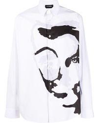 Les Hommes アブストラクトプリント シャツ - ホワイト
