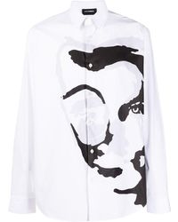 Les Hommes Abstract Print Shirt - White