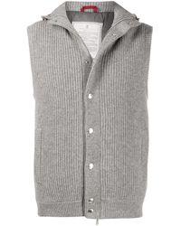 Brunello Cucinelli Hooded Knit Gilet - Grey