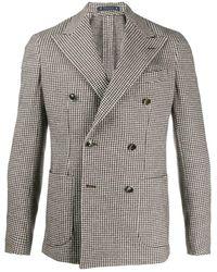 Al Duca d'Aosta Houndstooth Tweed Blazer - Brown