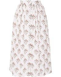 Brock Collection フローラル スカート - ホワイト