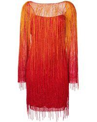 Alberta Ferretti フリンジドレス - オレンジ