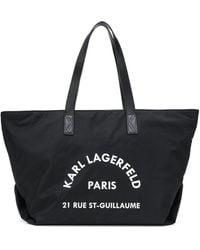 Karl Lagerfeld K/rue St Guillaume Canvas Tote Bag - Black