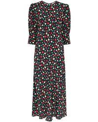RIXO London Jess Floral Print Midi Dress - Black