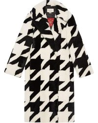Gucci Houndstooth Shearling Coat - Black