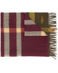 Mulberry Checked Lambswool Scarf - Green