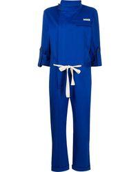 Monse Racer Cotton Jumpsuit - Blue