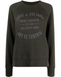 Zadig & Voltaire Upper Blason Embroidered Logo Cotton Sweatshirt - Green