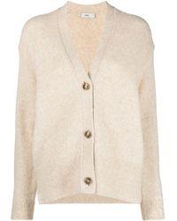 Closed V-neck Long-sleeve Cardigan - Natural