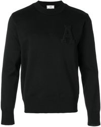 AMI - Logo Crew Neck Sweater - Lyst