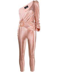 Elisabetta Franchi One Shoulder Fitted Jumpsuit - Многоцветный