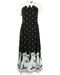 Undercover Painted Cats Midi Dress - Black