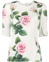 Dolce & Gabbana Tropical Rose ブラウス - ホワイト