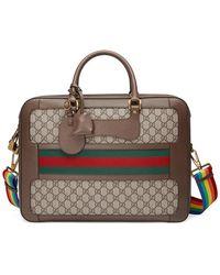 Gucci GG Supreme Briefcase With Web - Brown
