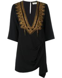 Saint Laurent - Metallic Embroidered Kaftan - Lyst