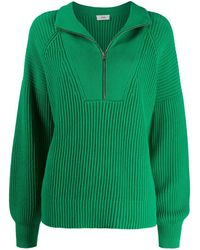 Closed Ribbed Half-zip Jumper - Green