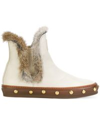 Baldinini - Studded Fur Ankle Boots - Lyst