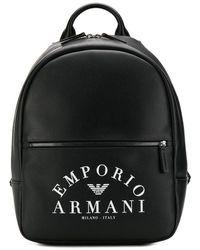 Emporio Armani Logo Print Backpack - Black