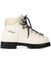 Proenza Schouler Lace Up Off-white Leather Ankle Boots