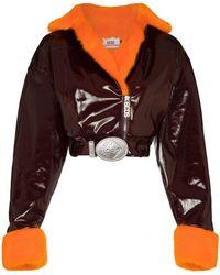 Gcds Укороченная Байкерская Куртка С Искусственным Мехом - Красный