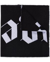 Palm Angels Logo Intarsia Knit Scarf - Black