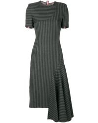 Thom Browne Chalk Stripe Pencil Dress - Grey