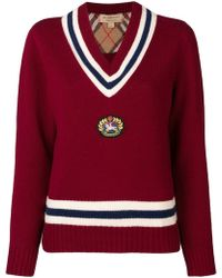 Burberry Varsity-style Jumper - Red