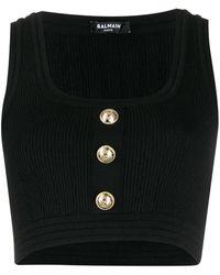 Balmain Top crop nervuré à boutons décoratifs - Noir