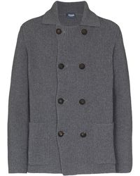 Drumohr Ribbed-knit Double-breasted Cardigan - Gray