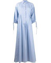 Evi Grintela Vestido camisero a rayas - Azul