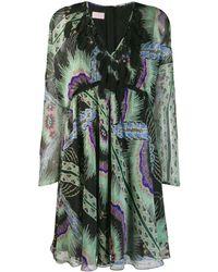 Giamba Vestido con apliques de plumas - Negro
