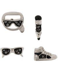 Karl Lagerfeld Charms Stud Earrings - Metallic