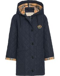 Burberry - Quilted Check Cuff Raincoat - Lyst