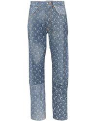 Marine Serre Moon Print Straight-leg Jeans - Blue