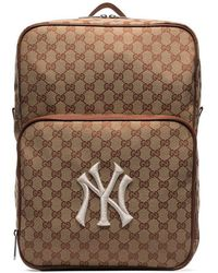 89a24dbf19bd Gucci - Brown Ny Yankees Patch Medium Canvas Backpack - Lyst