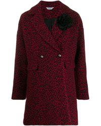 Liu Jo Leopard Double-breasted Coat - Red