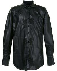 TOKYO JAMES Leather-look Long-sleeve Shirt - Black