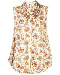 Derek Lam Floral Print Scarf Neck Handkerchief Blouse - White